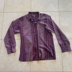 Tommy Bahama 100% Silk Purple Buttondown Sz Large